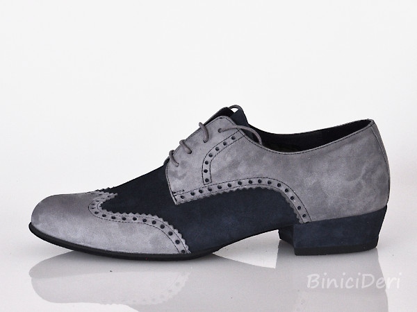 Men's tango shoe - suede - Light Grey & navy blue