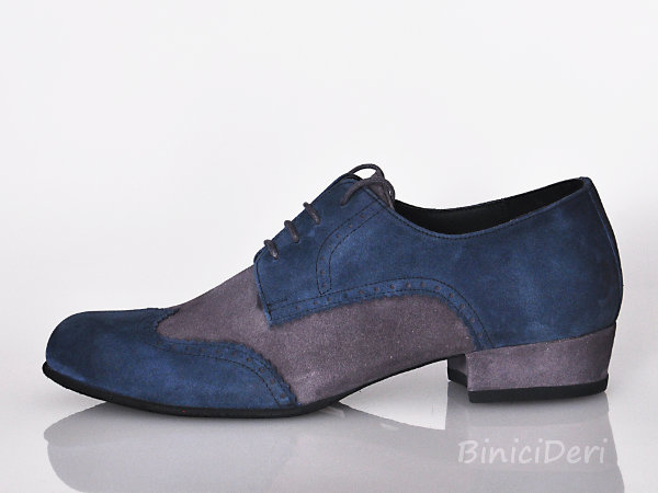 Men's tango shoe - suede - Navy blue & Grey