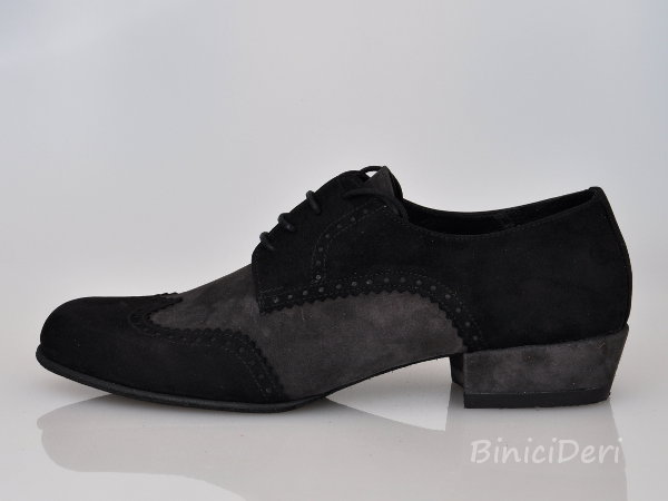 Men's tango shoe - suede - black&grey