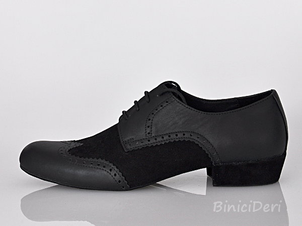 Men's latin shoe - Black suede and soft