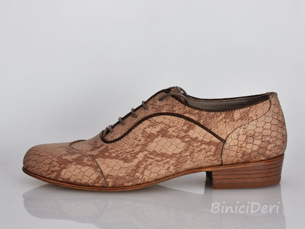 Men's tango shoe - Beige Print & Brown