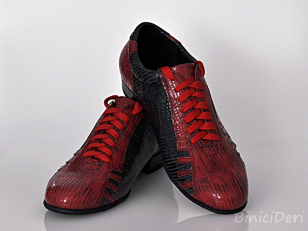 Men's sporty tango shoe - Red & Black - Click Image to Close