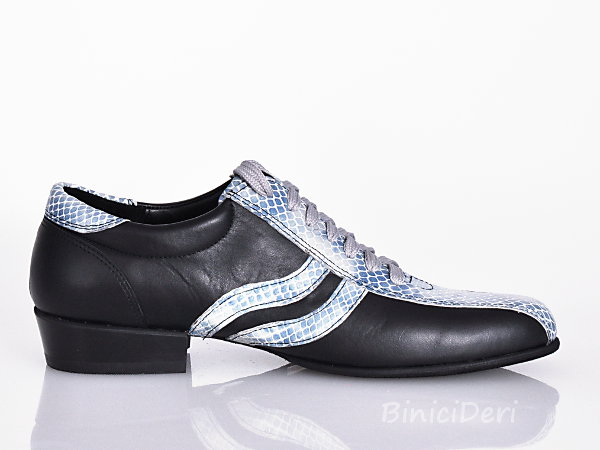 Men's sporty tango shoe - Black & turquoise blue