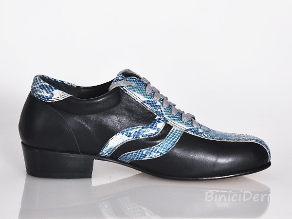 Men's sporty tango shoe - Black & light blue