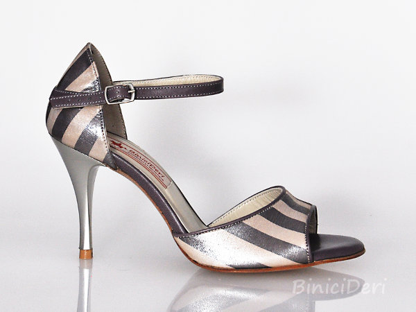 Women's classic tango shoe - Striped Champagne
