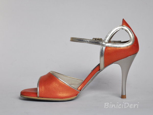 Women's tango shoe - Salmon Pearl & Gold - Click Image to Close
