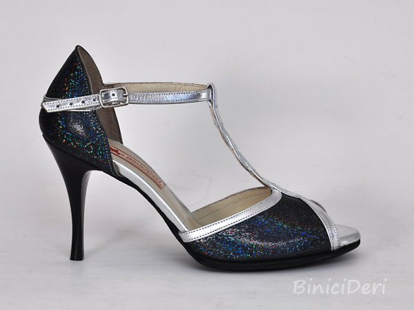 Women's tango shoe - Silver & fume color