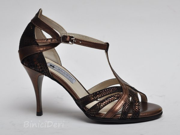 Women's tango shoe - Copper & brown