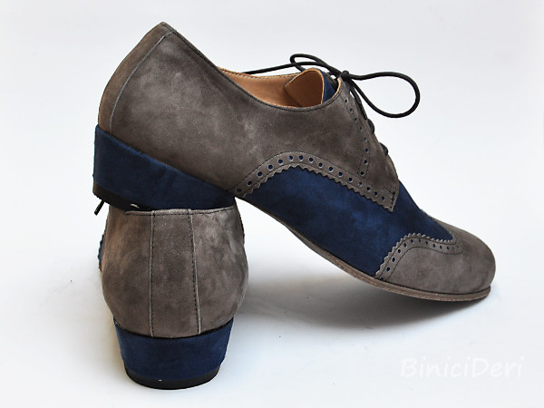 Men's tango shoe - suede - Grey & navy blue - Click Image to Close