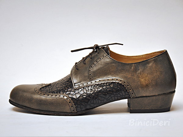 Men's tango shoe - Beaver's brown & croc