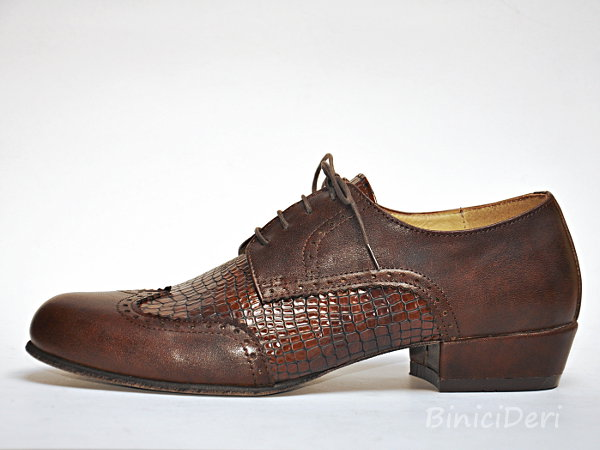 Men's tango shoe - Brown & croc