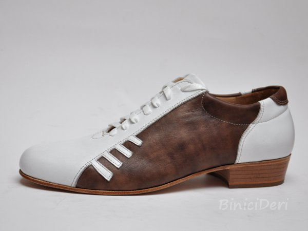 Men's sporty tango shoe - White & Brown - Click Image to Close