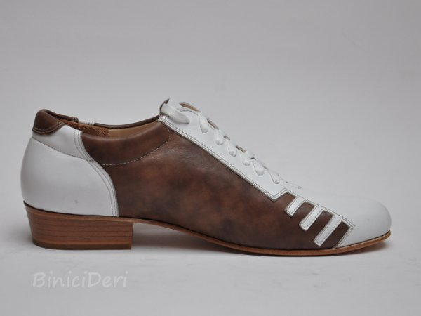 Men's sporty tango shoe - White & Brown