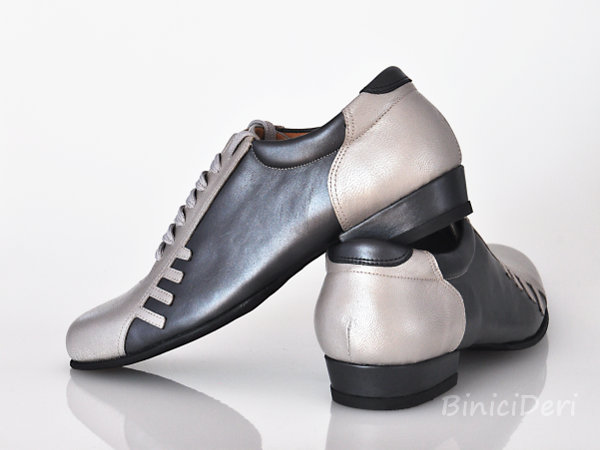 Men's sporty tango shoe - Platinum & Anthracite
