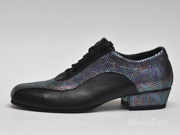 Men's sporty tango shoe - Black & shiny twilight