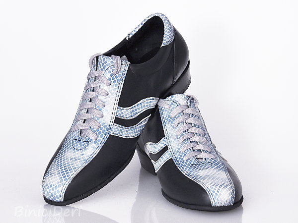 Men's sporty tango shoe - leather black & turquoise blue
