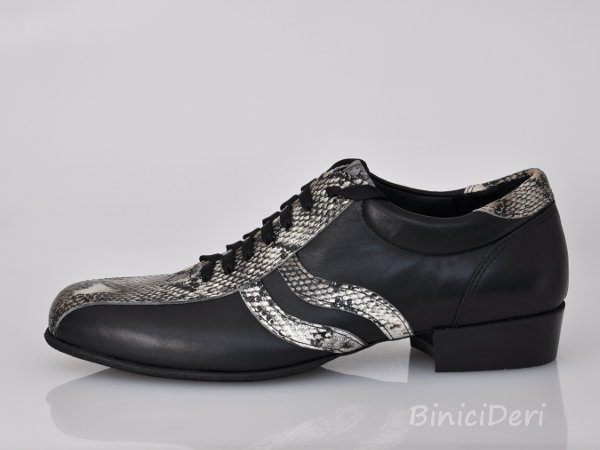 Men's sporty tango shoe - Brown Snake & Black