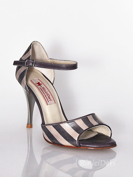 Women's classic tango shoe - Striped Champagne - Click Image to Close