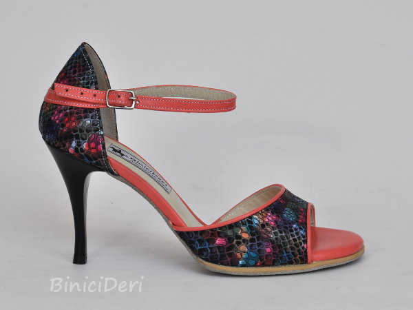 Women's classic tango shoe - Black rainbow & Coral pink