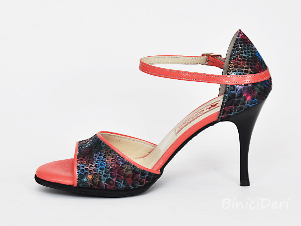 Women's classic tango shoe - Black rainbow & Coral pink - Click Image to Close