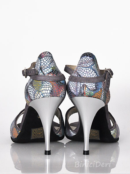 Women's classic tango shoe - Gray & mosaic print - Click Image to Close