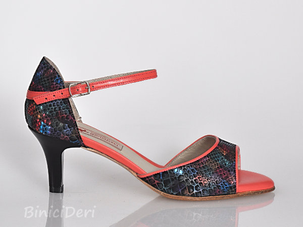 Women's classic tango shoe - Black rainbow & Coral pink -9pp