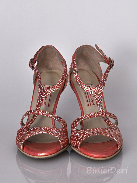 Women's tango shoe - Red Mosaic - Click Image to Close
