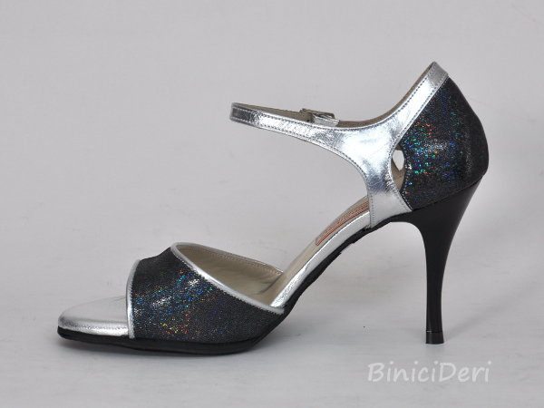 Women's tango shoe - Silver & fume color - Click Image to Close