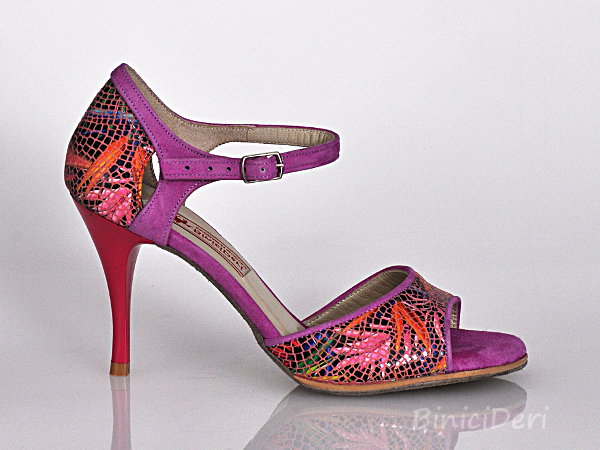 Women's tango shoe - Lilac & Lilium print - Click Image to Close
