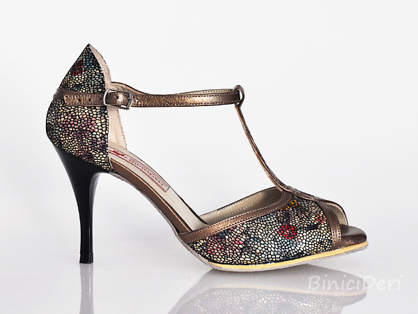 Women's tango shoe - Mosaic Flower & Copper