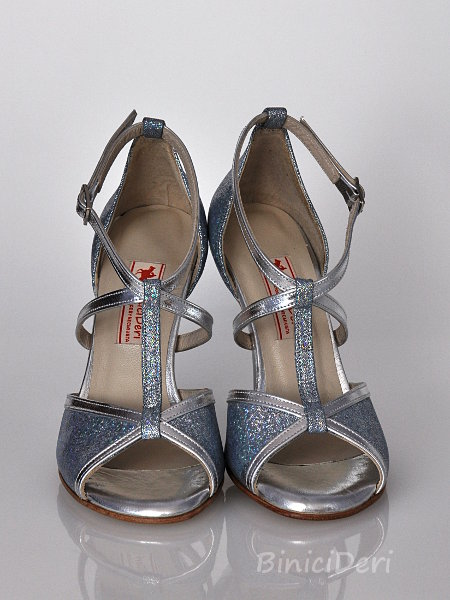 Women's tango shoe - Silver hologram shine (15pp)