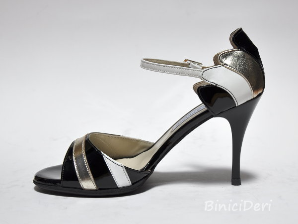 Women's tango shoe - Black white & gold