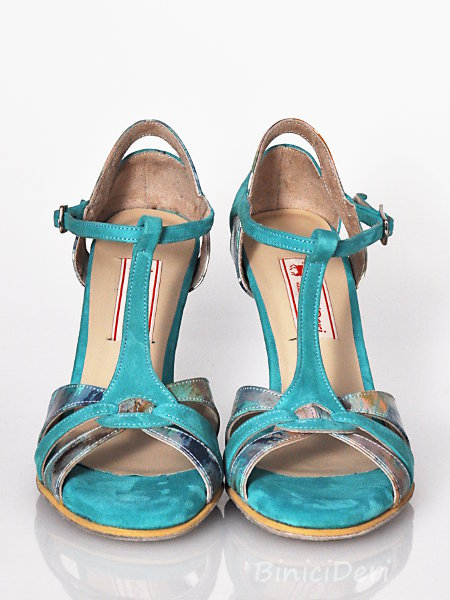 Women's tango shoe - Turquoise print - Click Image to Close