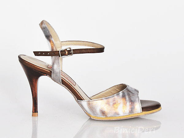 Women's tango sandal shoe - Gold spray & copper - Click Image to Close