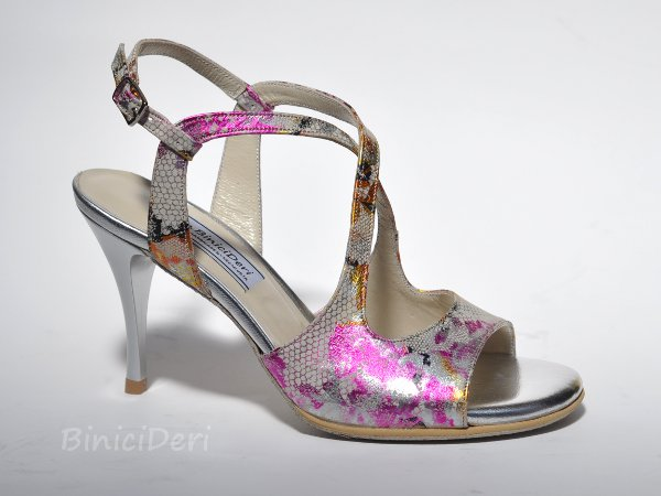 Women's tango sandal shoe - Fuchsia Flower - Click Image to Close