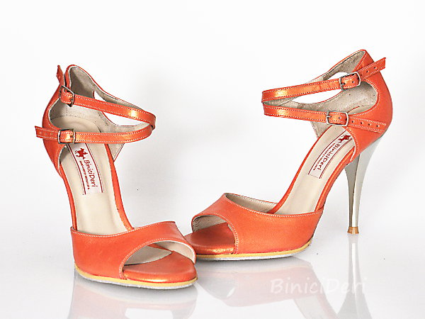 Women's tango shoe - Salmon Pearl 15pp - Click Image to Close