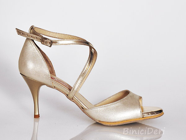 Women's tango shoe - Light gold jewel 11pp