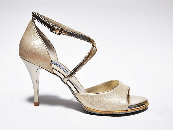 Women's tango shoe - Light gold jewel [NG-774AJ]