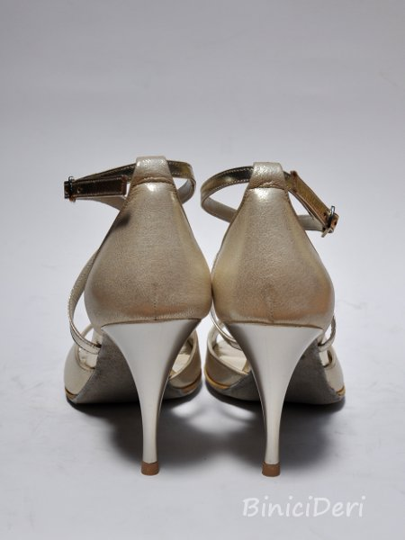 Women's tango shoe - Light gold jewel