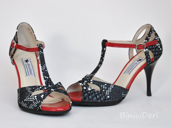 Women's tango shoe - Black white & red