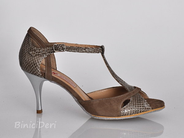 Women's tango shoe - Grey pattern & Suede 11pp