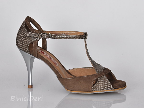 Women's tango shoe - Grey pattern & Suede